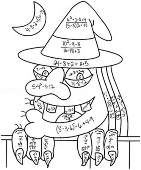 halloween coloring page 5th grade order of operations color by number halloween witch