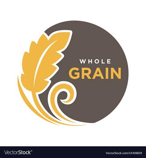 whole grains logo whole grain logo with ears of wheat symbol vector image