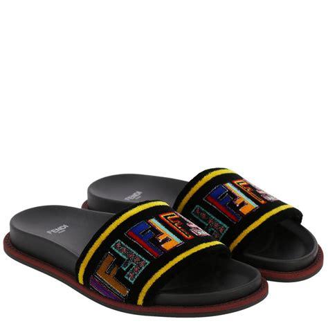 Wedges Fendi Import fendi flat sandals shoes fendi black s flat shoes italist