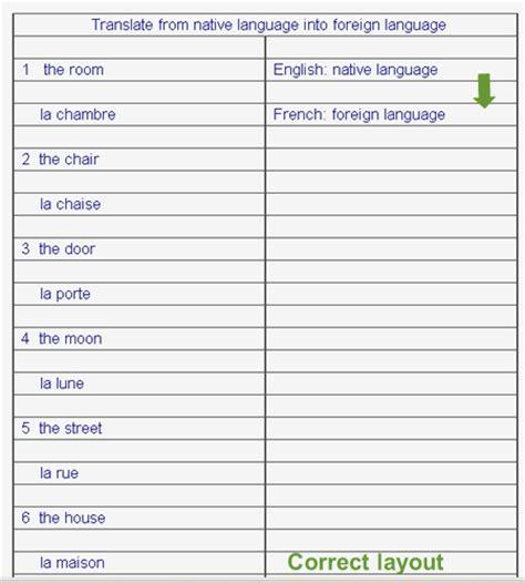 layout translation francais pair question answer stimulus response