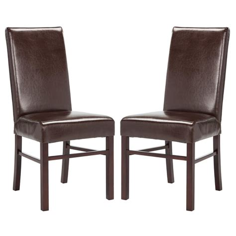 Brown Leather Dining Chair Safavieh Lester Sky Blue Linen Blend Dining Chair Set Of 2 Mcr4709ab Set2 The Home Depot