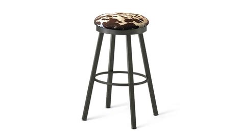 Looking Stool by Amisco Connor Industrial Looking Bar Stool With Faux Cow Hide Seat