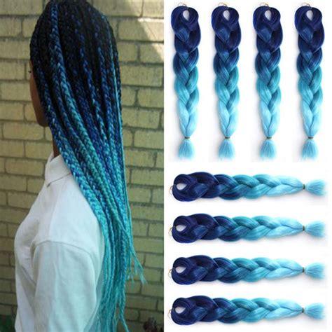 ombre kanekalon braiding hair 1piece 24 quot ombre kanekalon braiding hair two tone blue sky