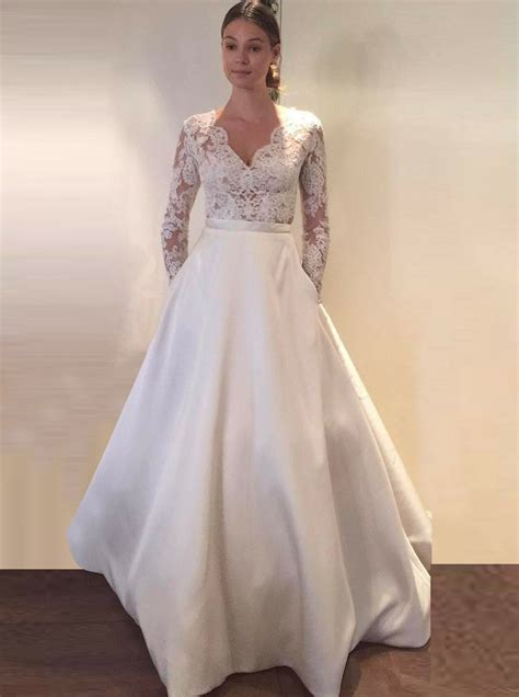 Wedding Dress With Pockets by A Line Scalloped Edge Sleeves Satin Wedding Dress
