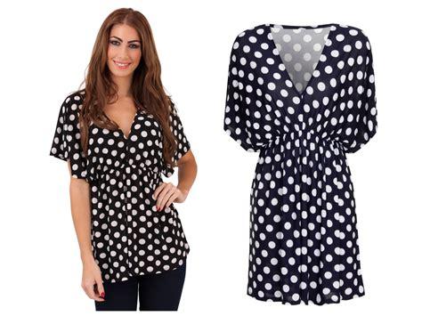 Polka Dot V Neck Blouse womens polka dot v neck sleeved blouse stretch