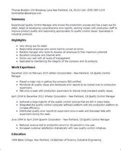 Plumbing Supervisor Resume Sle by Sle Resume For Quality Quality Supervisor