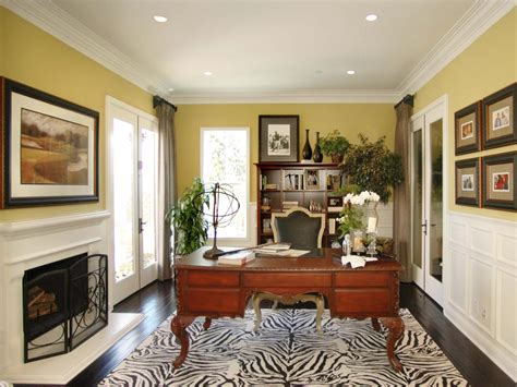 elegant home office yellow traditional home office photos hgtv