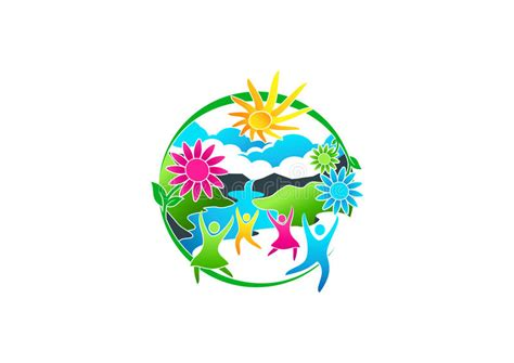 blue flower tree family symbolize happy home decor wall wellness logo spring flower icon summer river symbol and