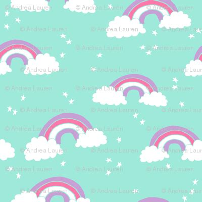 Promo Base 1 Unicorn Paling Laris rainbow bright mint purple pink sweet pastel girly rainbows and clouds fabric andrea