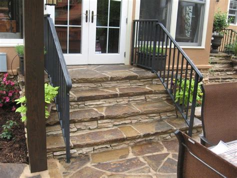 Back Porch Stairs Design Flagstone Steps And Black Iron Rail Leading From Screen Porch In Nc By Archadeck