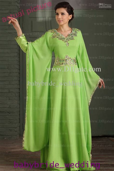 Promo 6965 Gold Maxi Maxi Dress Dress Muslim Murah Baju Muslim M arabic dubai abaya kaftan green dress gold embroidery edge muslim dress poet sleeve