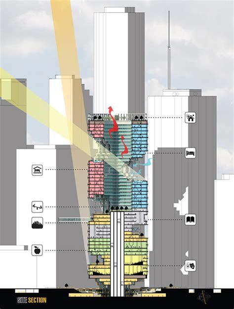 skyscraper section urban infiltration skyscraper for houston evolo