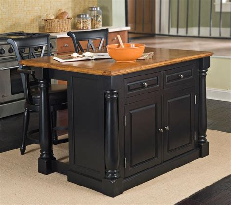 Black Kitchen Island With Stools Monarch Black And Oak Kitchen Island Set With Two Stools