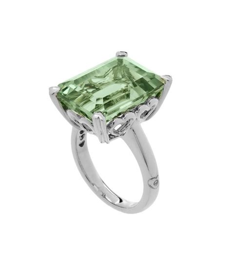 emerald cut 10ct praseolite ring sterling silver amoro