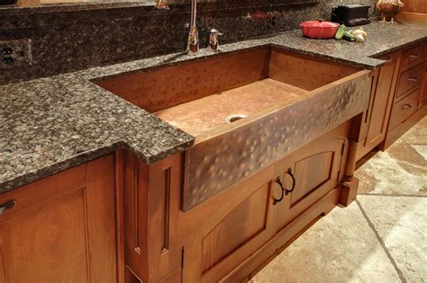 Hand crafted mcnabb farm style copper sink by north shore iron works