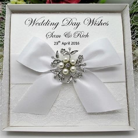 Handmade Wedding Cards Uk - personalised boxed luxury wedding card lace handmade
