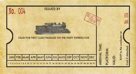 Printable Train Tickets Templates | spaghetti westerner free printables modern diy train