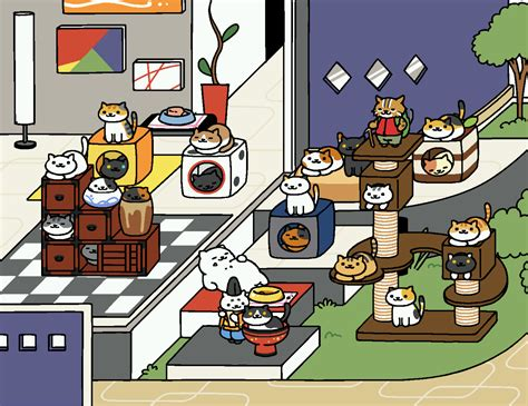 chip neko atsume a month of work for a 24 cat collage in modern nekoatsume