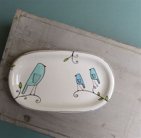 blue bird plate spring bluebird dish gift for baby
