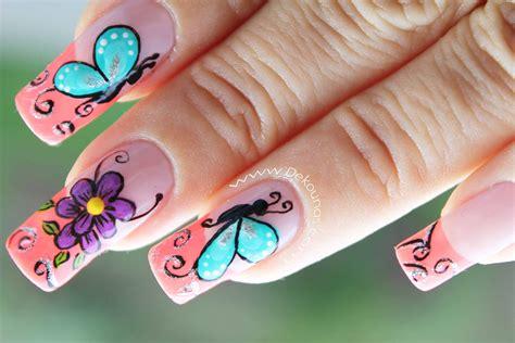 imagenes de uñas pintadas de helados u 241 as pintadas con dise 241 os de mariposas