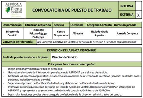 convocatoria para servicio de convocatoria externa de puesto de trabajo director de