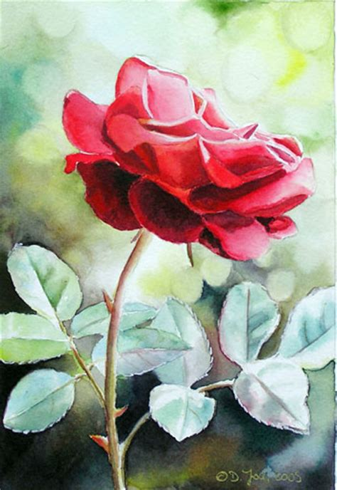 rote gemalt in aquarell small watercolor painting