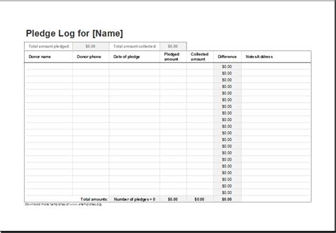 Donation Pledge Log Template For Excel Excel Templates Pledge Sheet Template