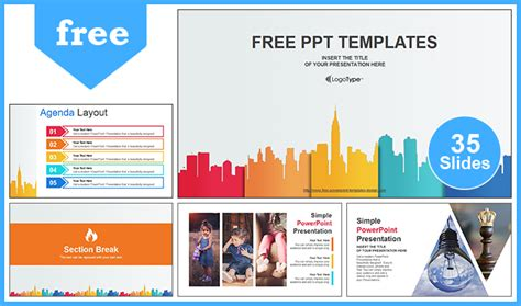 City Buildings Business Powerpoint Template Business Slide Presentation Template