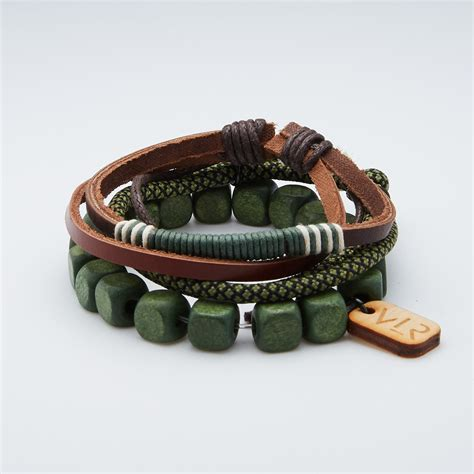 square bead bracelet set olive vallour jewelry
