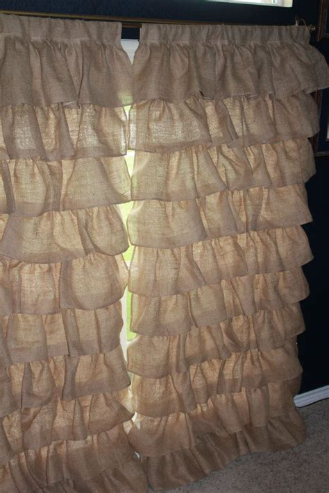 burlap ruffle curtains burlap curtains full panel ruffles