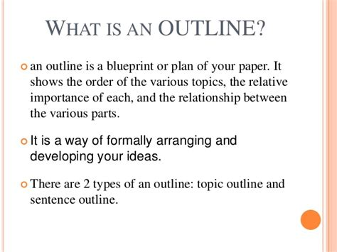 What Is A Outline creating an outline