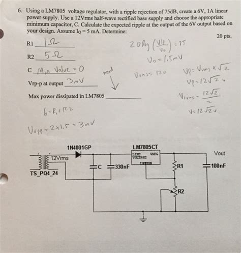 capacitor ripple current linear power supply using a lm7805 voltage regulator with a ripple re chegg