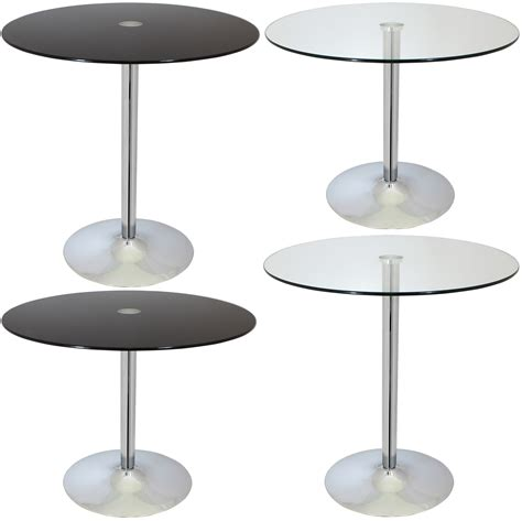 Cafe Style Dining Table Large Circular Glass Top Bistro Dining Table Bar Cafe Style Breakfast Ebay