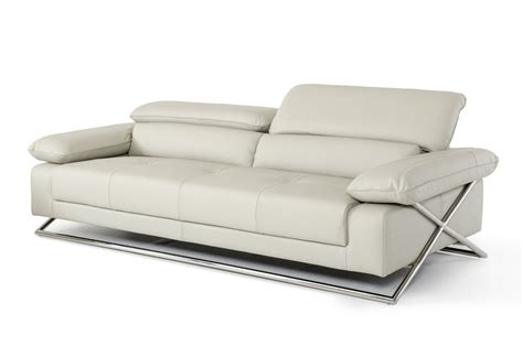 powell modern light grey leather sofa set