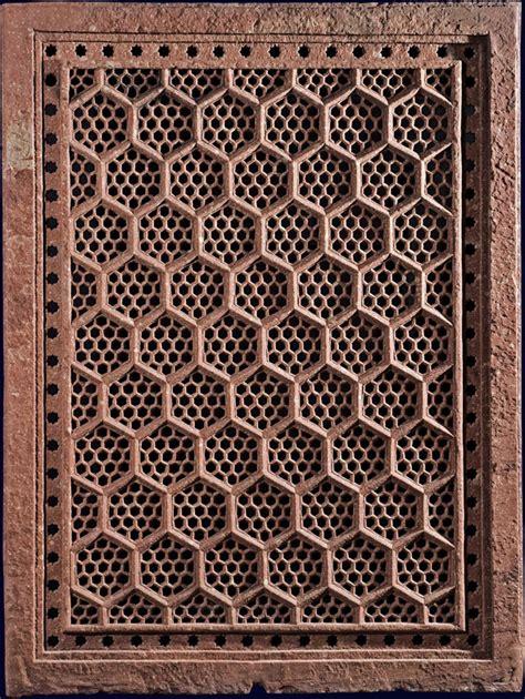 islamic jali pattern red sandstone jali india mughal 17th century a