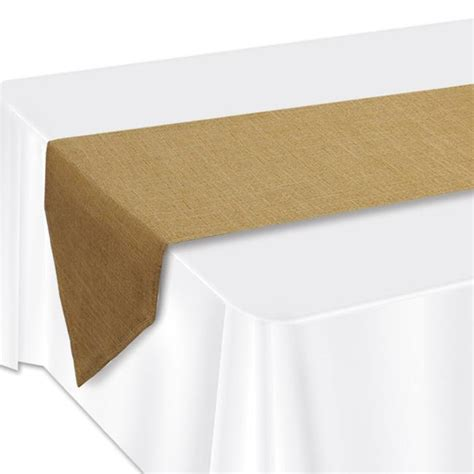 Faux Burlap Table Runner Lamentated Paper Metallic Non