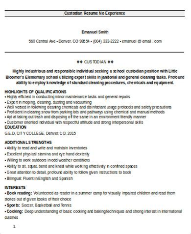 Custodian Resume Exles by Custodian Resume Cover Letter Desktop Custodian Resume