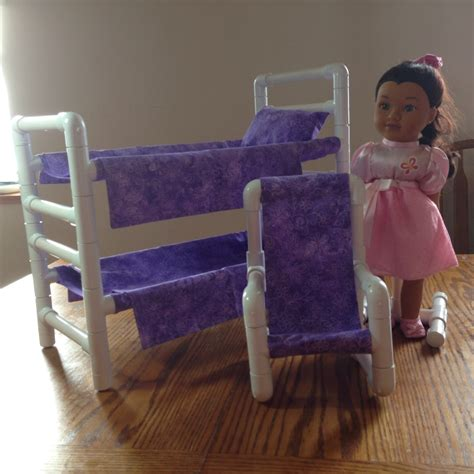 18 inch doll bunk bed doll bunk bed and chair purple bed for dolls by amysredthreads