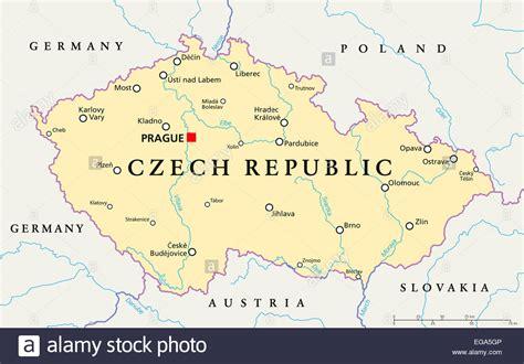 Beschriftung English by Tschechische Republik Politische Karte Mit Hauptstadt Prag