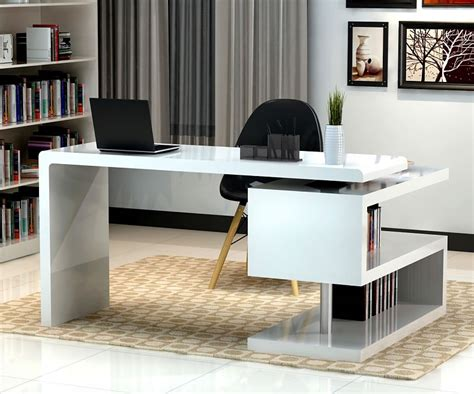 desks home office stunning modern home office desks with unique white glossy