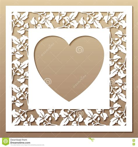 Laser Cut Photo Frame Template Openwork Square Frame With Leaves And Heart Stock Vector Image 73635718