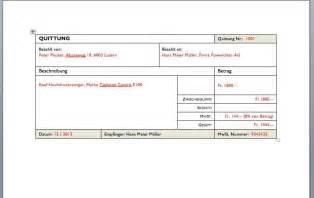 Word 2010 Vorlage Quittung Quittung Vorlage Schweiz Muster Und Vorlagen Kostenlos
