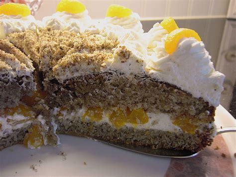 mandarinen sahne kuchen nuss mandarinen sahne torte rezept mit bild
