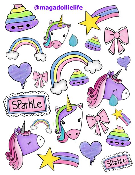sticker doodle draw magical unicorn sticker for 8 5 x 11 inch sticker