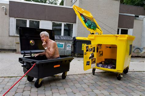 garbage bin a song by tiny little houses on spotify german designer turns dumpsters into tiny houses