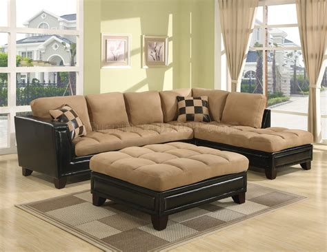 beige suede couch beige suede two tone modern sectional sofa w bycast base