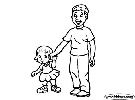 father and his daughter coloring page