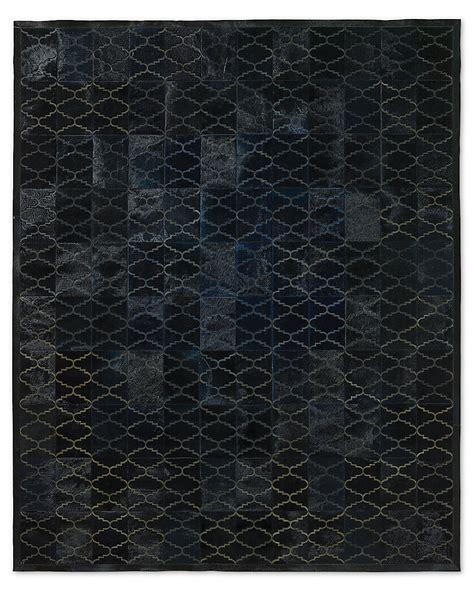 Cowhide Tile Rug Etched Moroccan Tile Cowhide Rug Navy