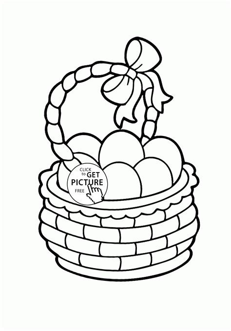 basket of eggs coloring page cute basket with easter eggs coloring page for kids pages