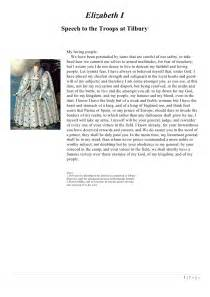 Elizabeth 1 Speech Essay by Persuasive Speeches In History